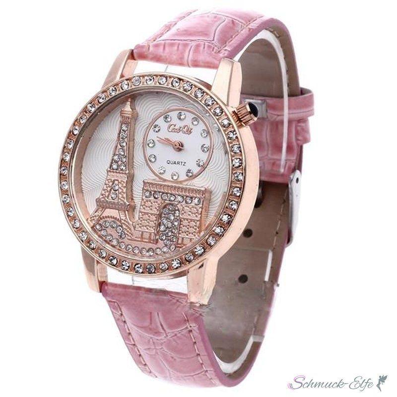 Damen Armbanduhr 3d Paris Mit Strass Rosegold Rosa 29 99 Mit Bildern Armbanduhr Armbanduhr Damen