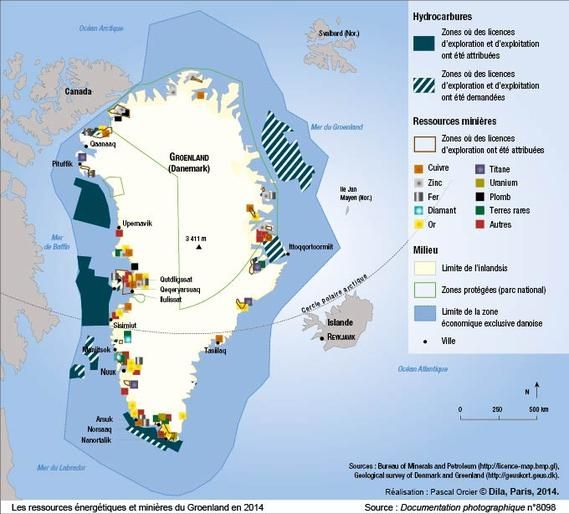 Natural resources on Greenland map by Pascal Orcier map