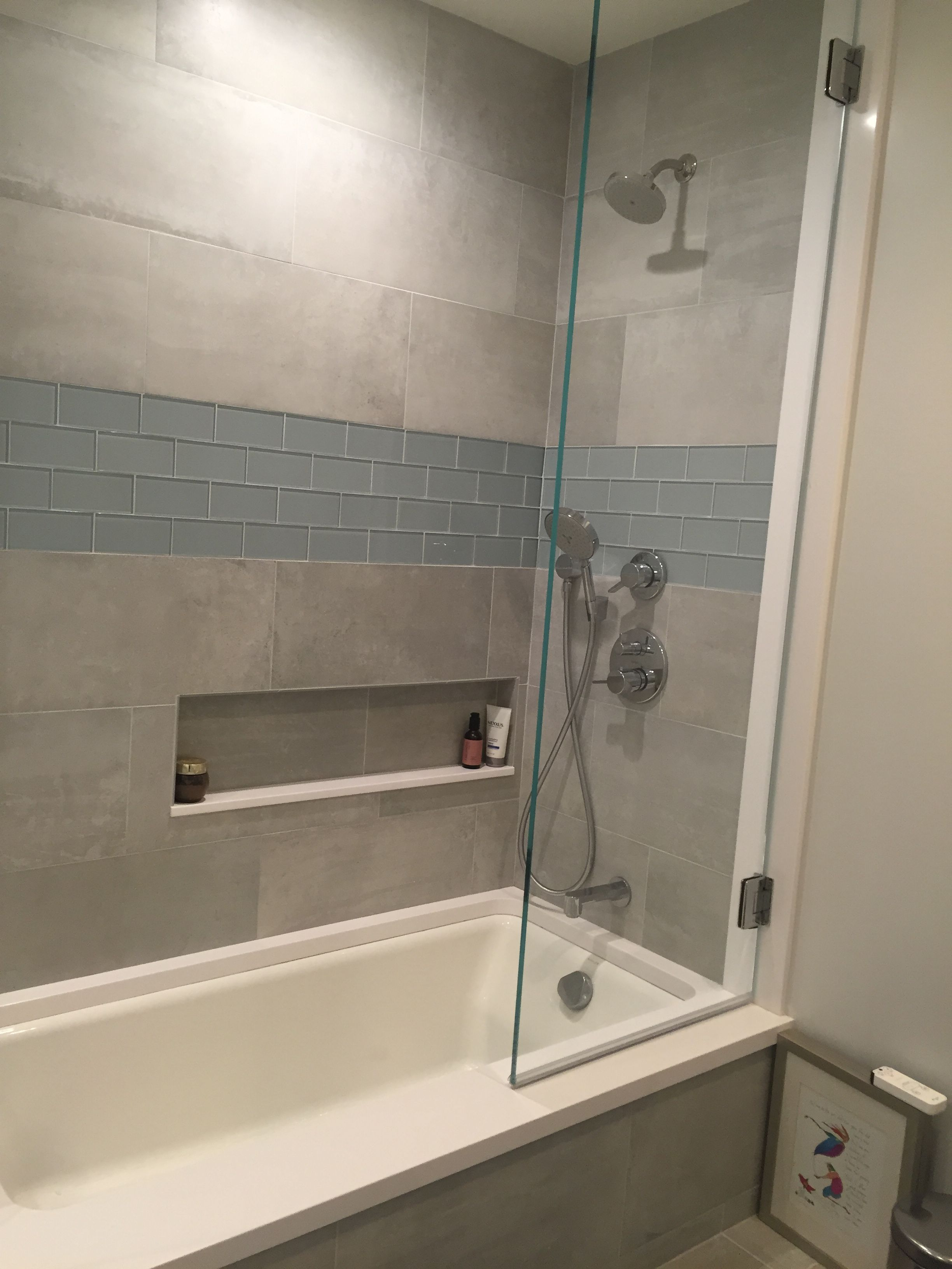 Large Format Tile And Glass Subway Tile In This Awesome Shower