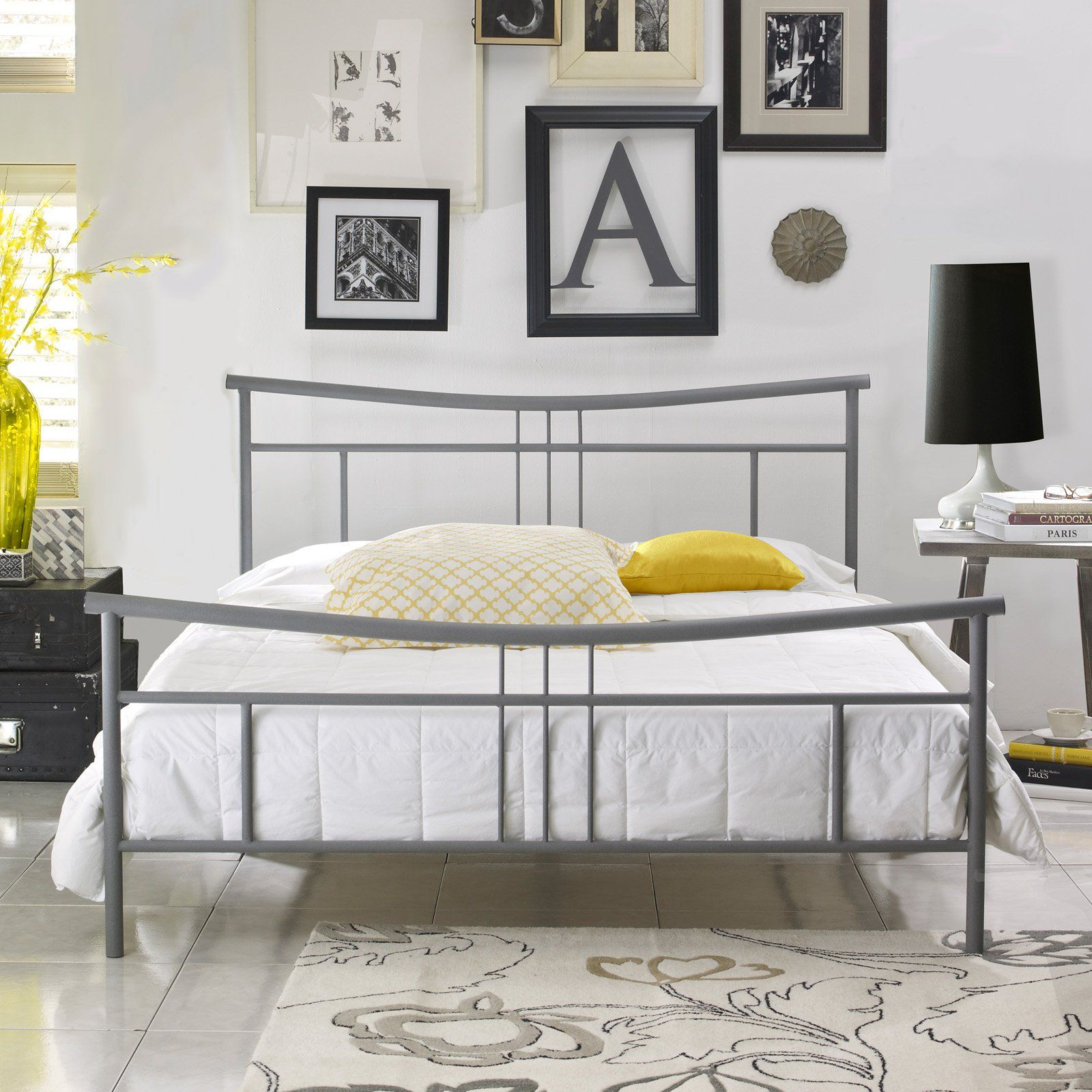 Pure Posture Blair Platform Bed Gray Metal platform