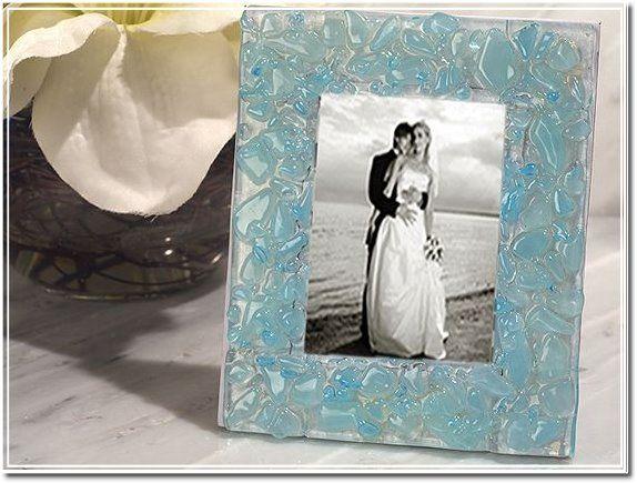Murano Style Art Deco Collection Blue Pebble Design Photo Frame myitalianfavors.com™