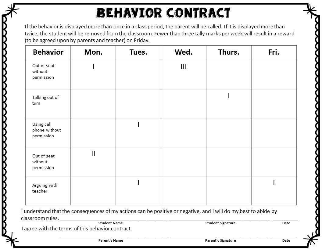 Printable Chart Printable Behavior Charts For Middle