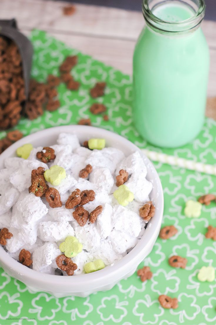 Simple St. Patrick's Day puppy chow recipe! This easy puppy chow recipe has a twist of St. Patrick's Day flare. First, measure out all your ingredients. Pour the melted dark chocolate melts over the cereal. Stir until the cereal is completely covered. Divide the powdered sugar into the 2 freezer bags. Then divide the chocolate...