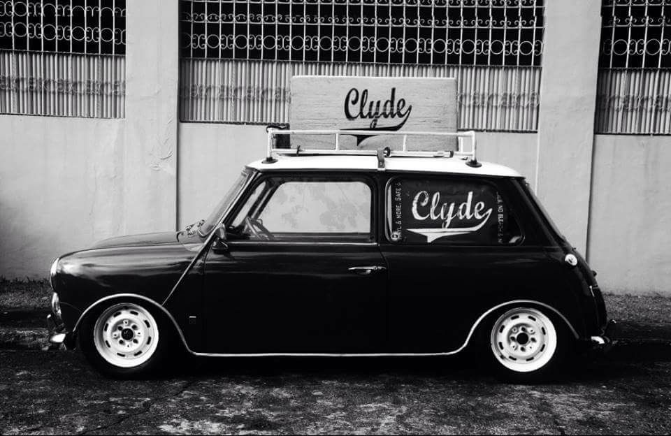 Classic Mini Lowered With White Steel Wheels And Roof Rack