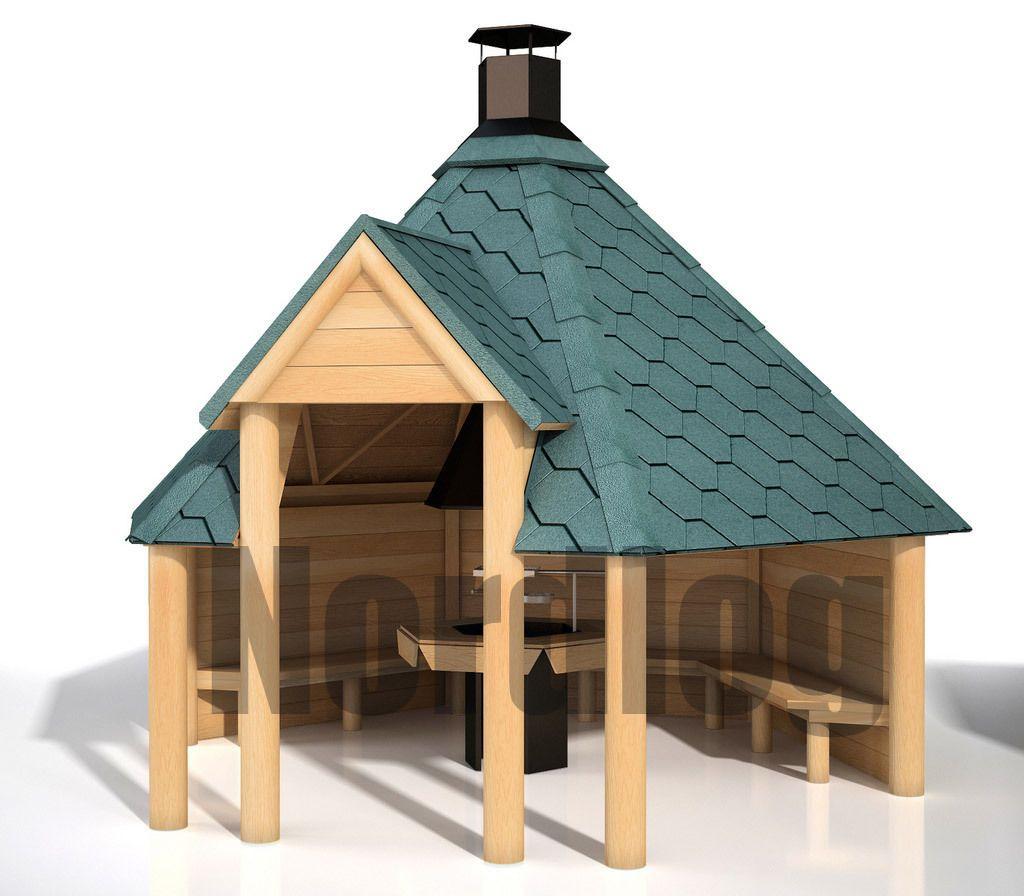 nordlog geöffnete grillkota 9,2 grillhaus grillhütte pavillon