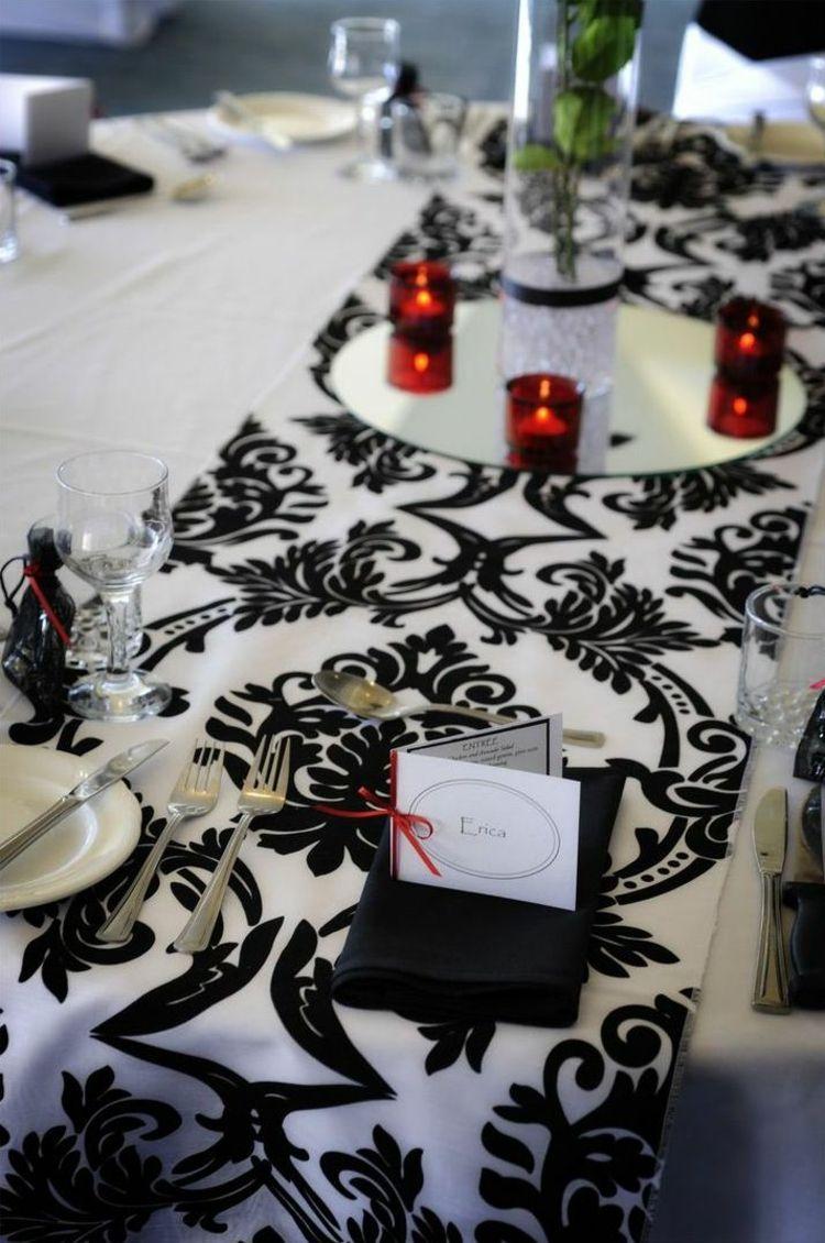 hochzeitstische in schwarz weiß ornamente tischdecke windlichter rot ...