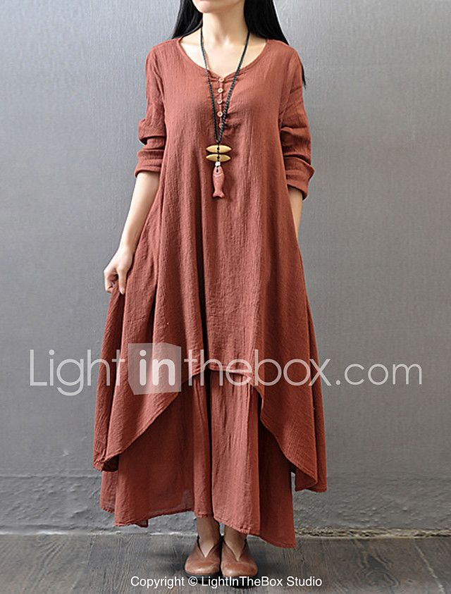 15c63778c07 Women's Casual/Daily Simple Chinoiserie Loose Dress,Solid V Neck Maxi Long  Sleeve Cotton Polyester Fall Mid Rise Inelastic Thin 2017 - $14.39