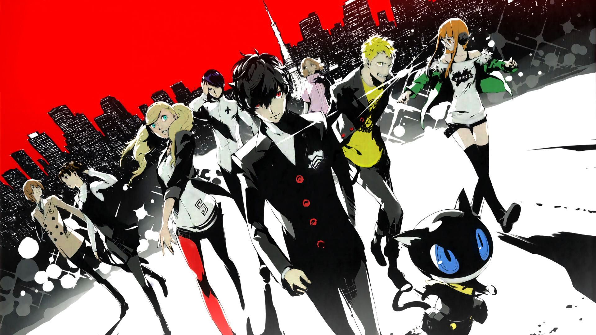 Did A Quick Coloring Of The P5 20th Anniversary Art 1920x1080 Need Iphone 6s Plus Wallpaper Background For Iphone6splu Persona 5 Persona Persona Five