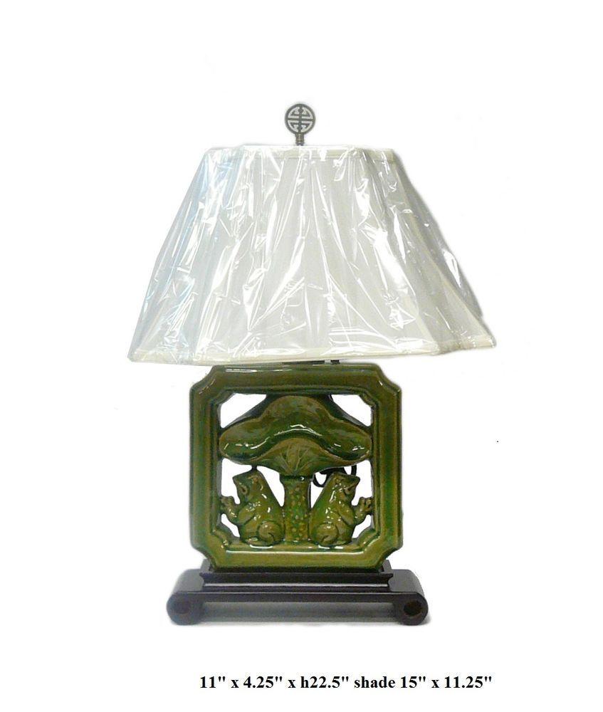 Chinese Green Porcelain Tile Shape Lotus Frog Table Lamp vs022 ...