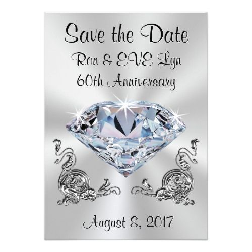 Diamond Anniversary Save The Date Cards Your Text Zazzle Com