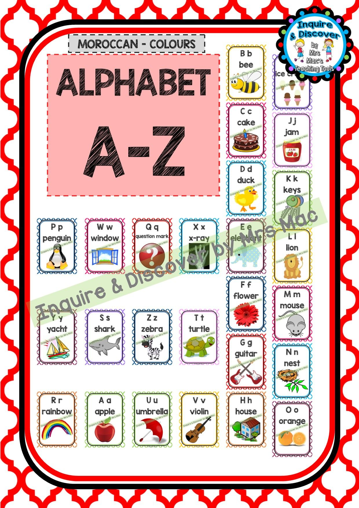 Alphabet Chart A To Z Classroom Decor Posters Moroccan