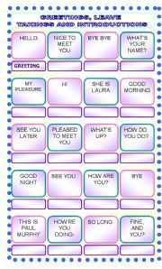 English Worksheet Greetings Leave Takings Introductions Greetings