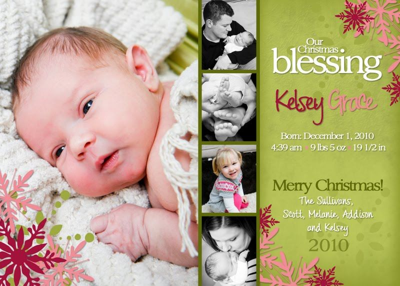 Birth announcement christmas card baby announcement