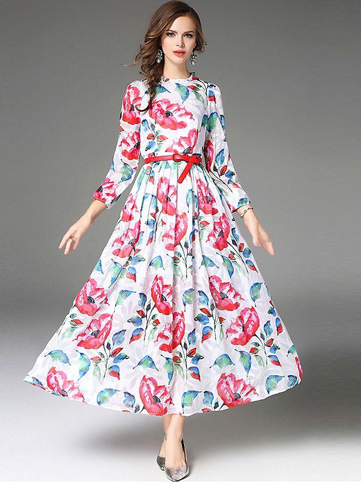 5a69c769c2302 Fashion O-Neck Long Sleeve Floral Print Maxi Dress from DressSure.com # dresssure #fashion #dresses #HighQuality