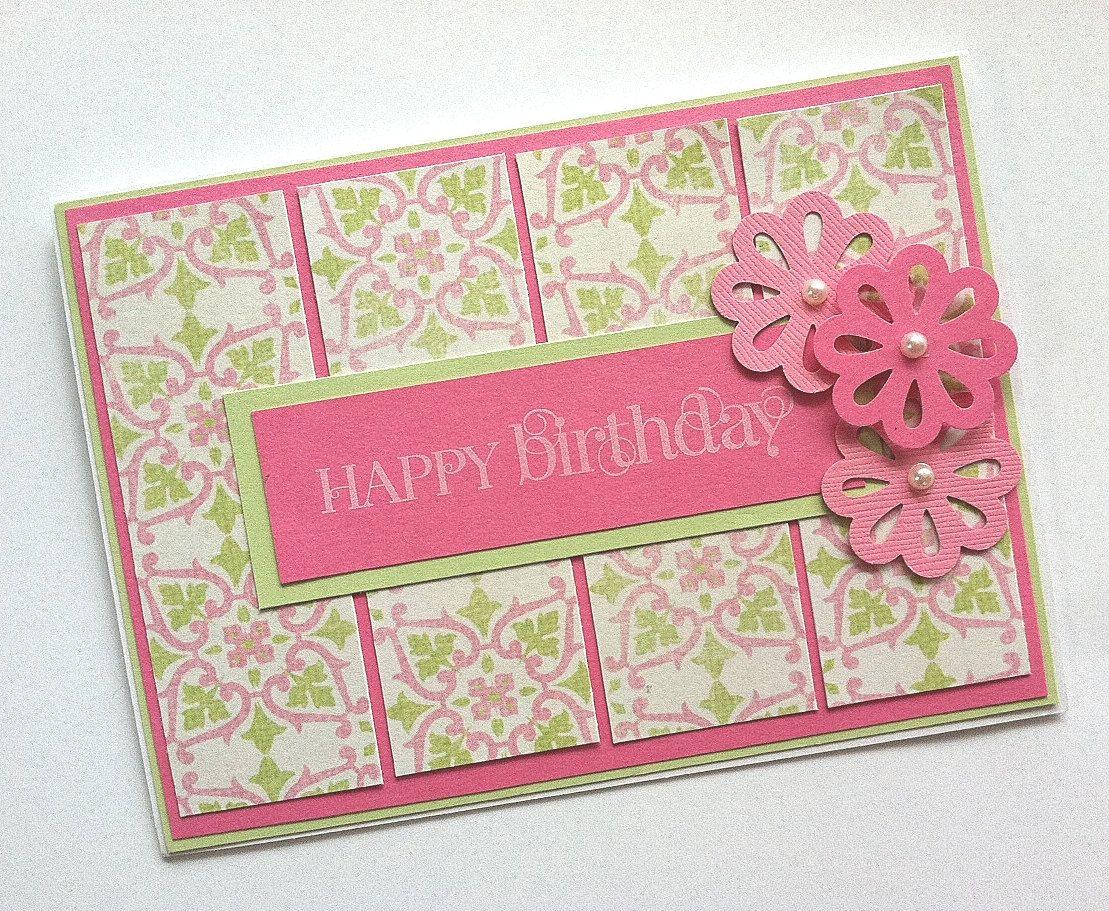 Birthday card pink birthday card birthday card for women or girls