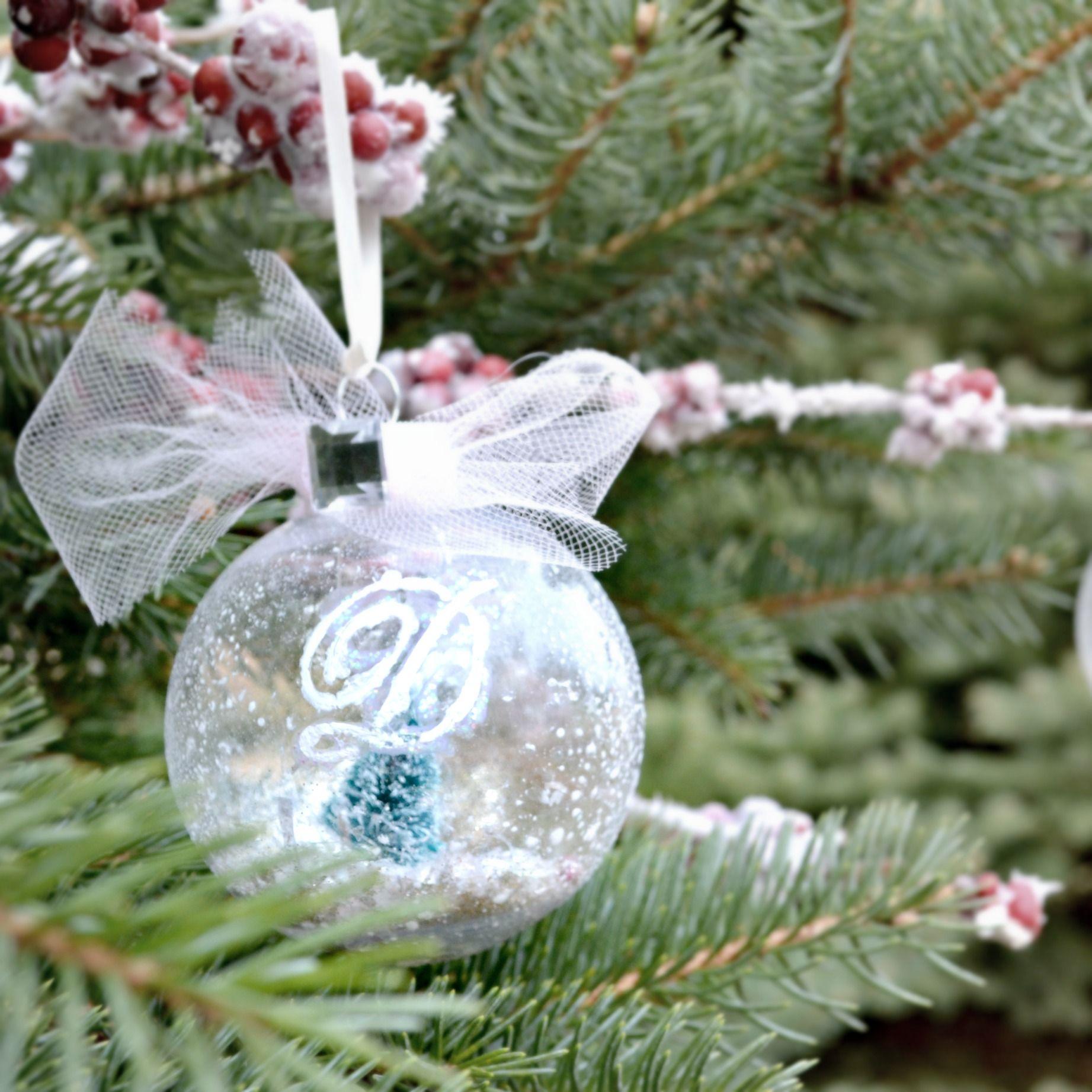 Snow globe ornament ornament simple diy and globe for Easy homemade christmas snow globes