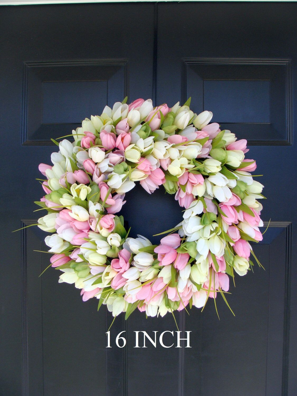 Spring Wreath Door Wreath Easter Wreath Tulip Wreath