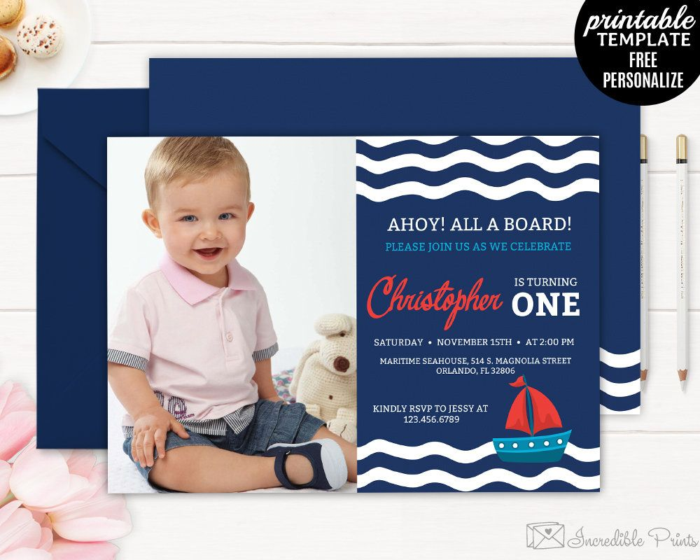 Nautical Boy Birthday Invitation Template Maritime Sail Boat First By HandmadeIncredible