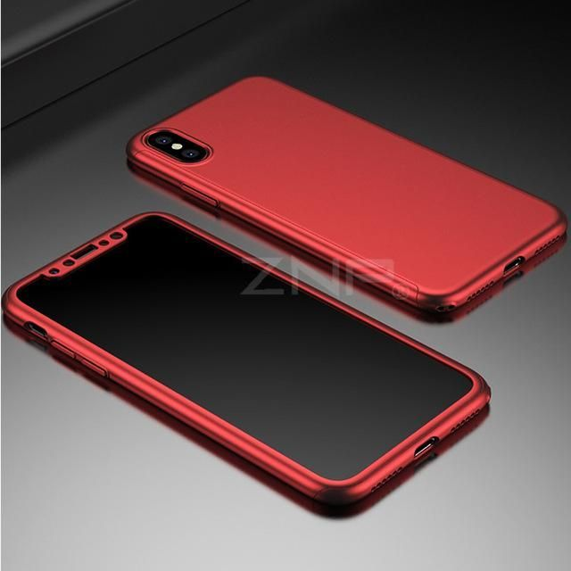 7f0ed59809a ZNP 360 Degree Full Cover Red Cases For iPhone X Case Luxury Back Plastic  PC Cover For iphone X Phone Case Capa
