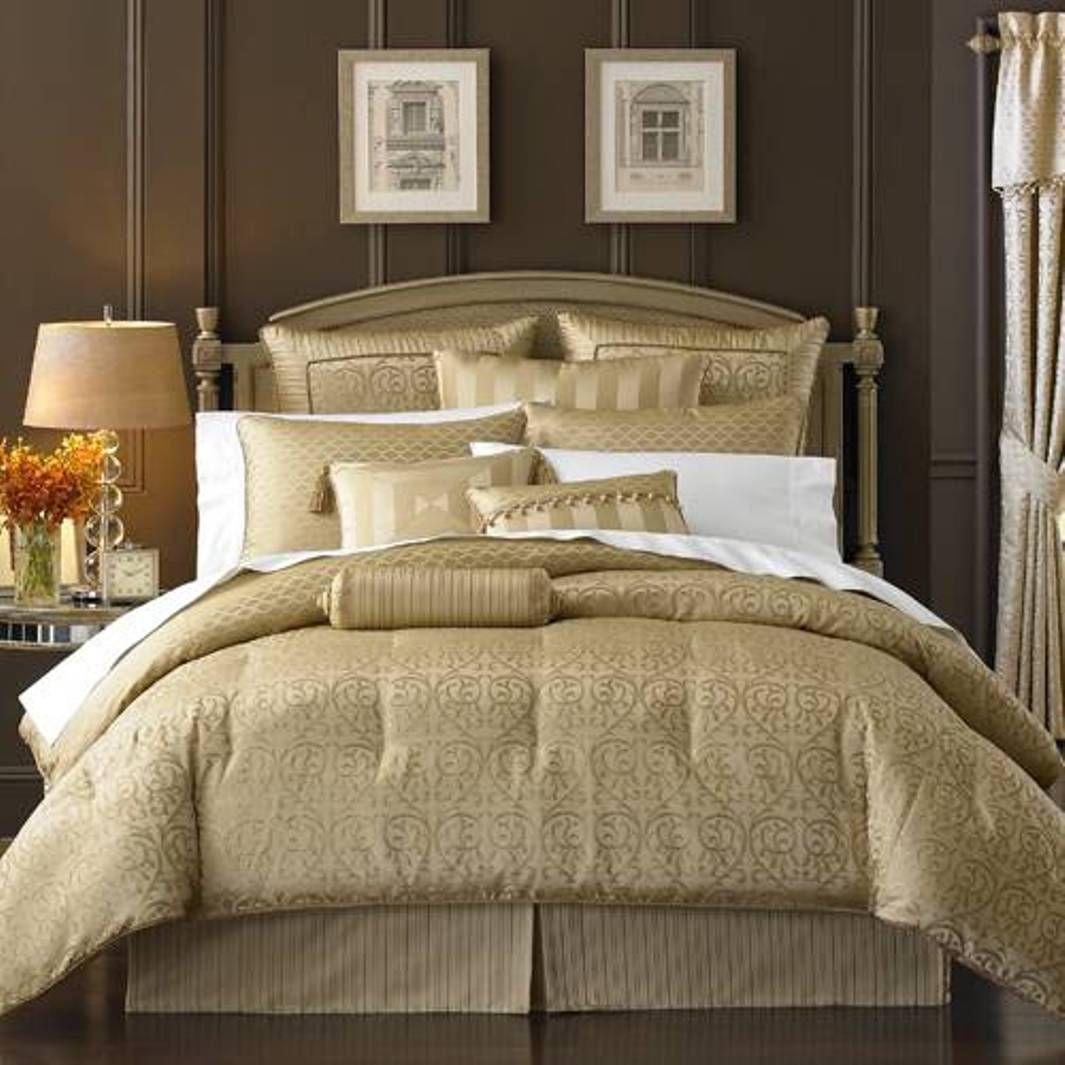 Brown bedding sets queen - Gold Queen Comforter Sets Waterford Bedding Waterford Anya Pale Gold