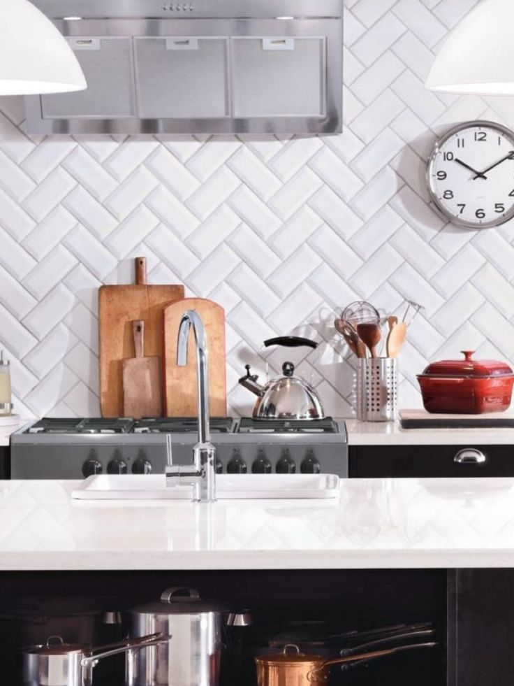 Azulejos biselados en la cocina estilo escandinavo - Azulejo metro cocina ...