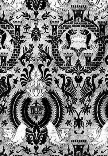 Pattern drawing of silk fabric of Burial vestment (fragment).  Royal crypt of Prague castle. Production: Italy. Lucca, 2nd half of 14.c.  By: Gollerova-Placha (1937)