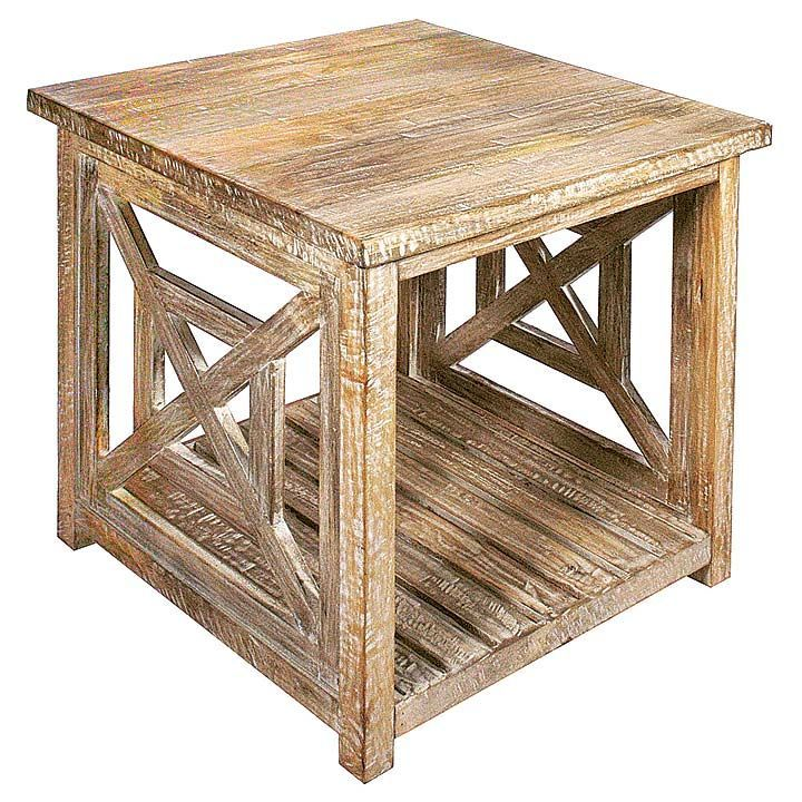 Bridgehampton Washed Wood End Table 24w x 24d x 24h Coastal Home