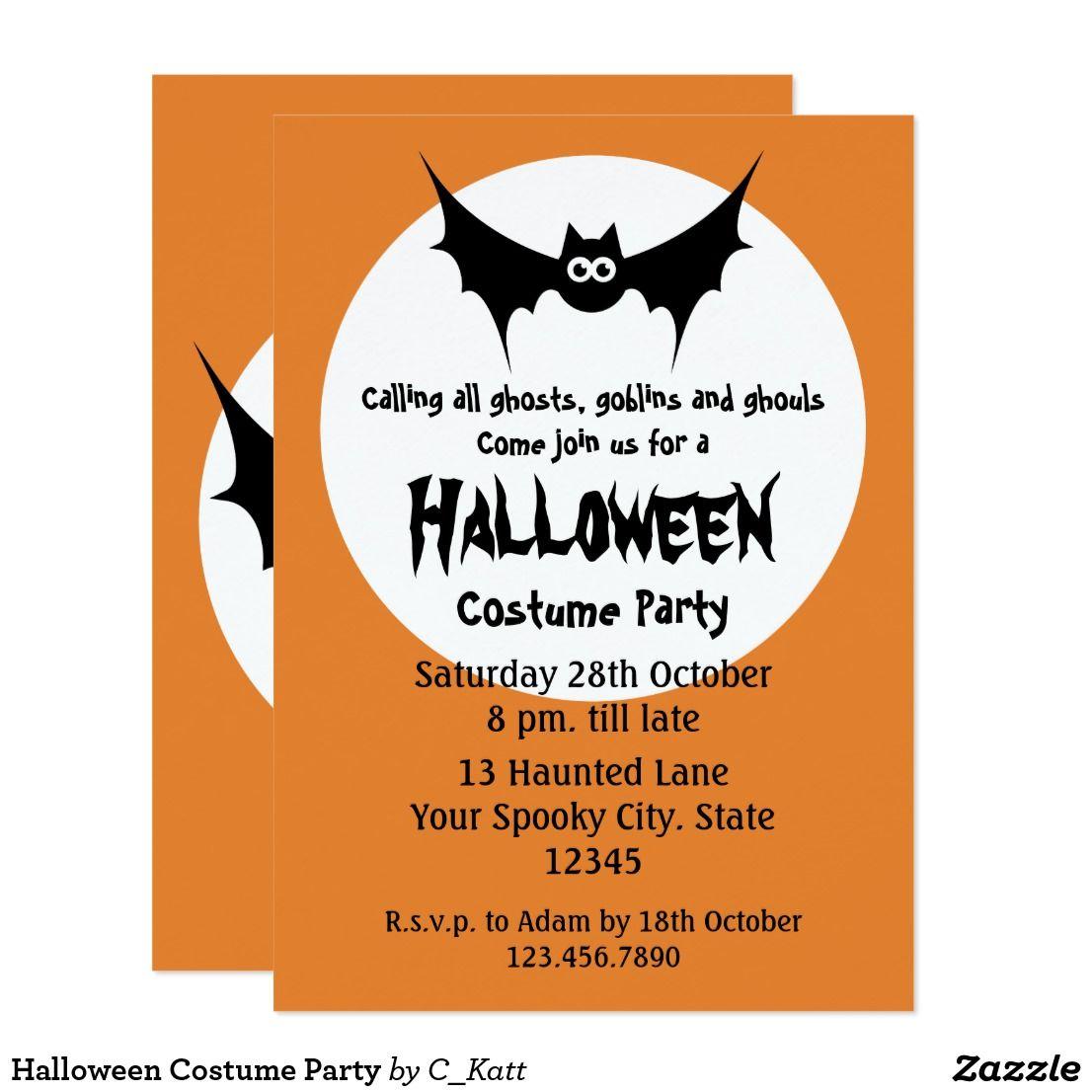 Halloween Costume Party Card Invitations Orange Halloween costume ...