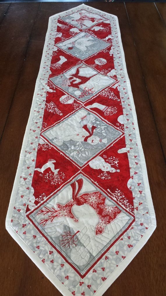 Red White And Silver Christmas Table Runners By Serenabeanquilts Runner Quilted
