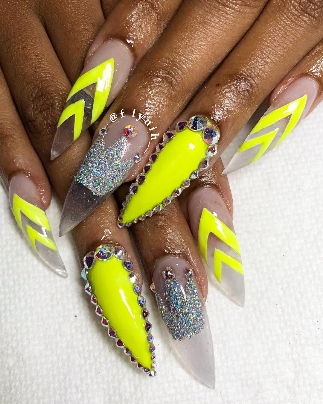 Glittery neon. // #nails #nailart #beauty   Nail design   Pinterest ...