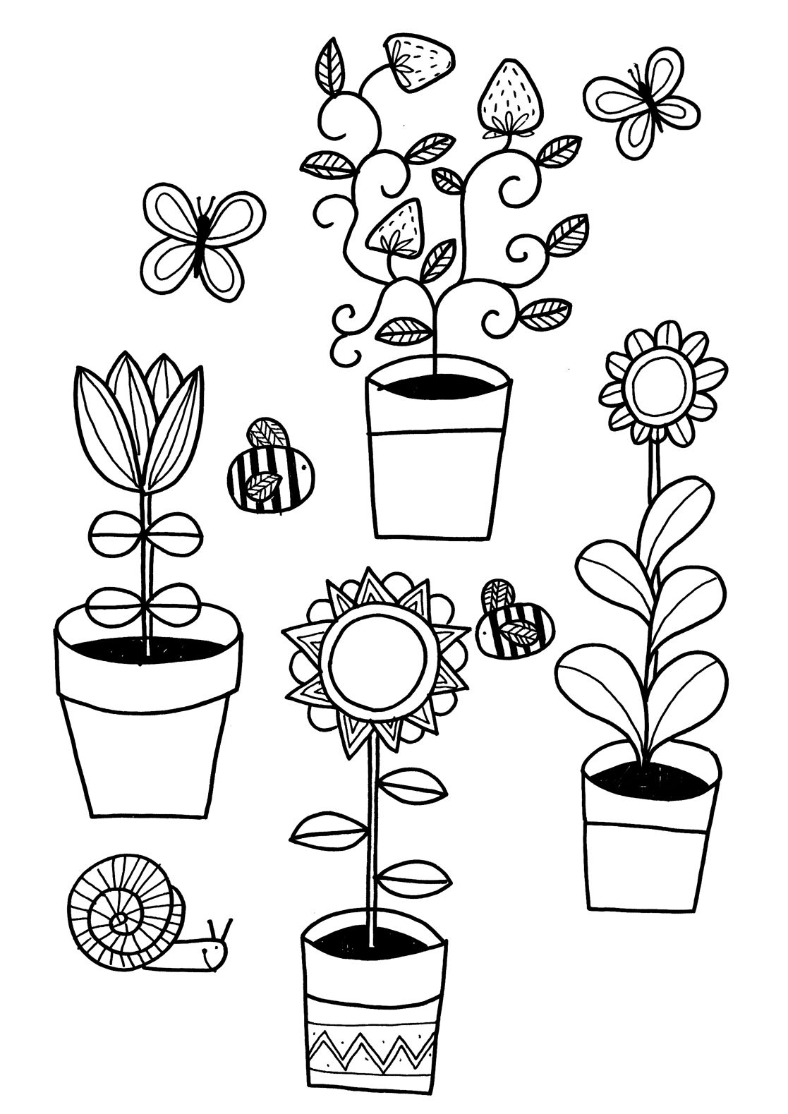 Colouring Page Garden coloring pages, Easy plants to