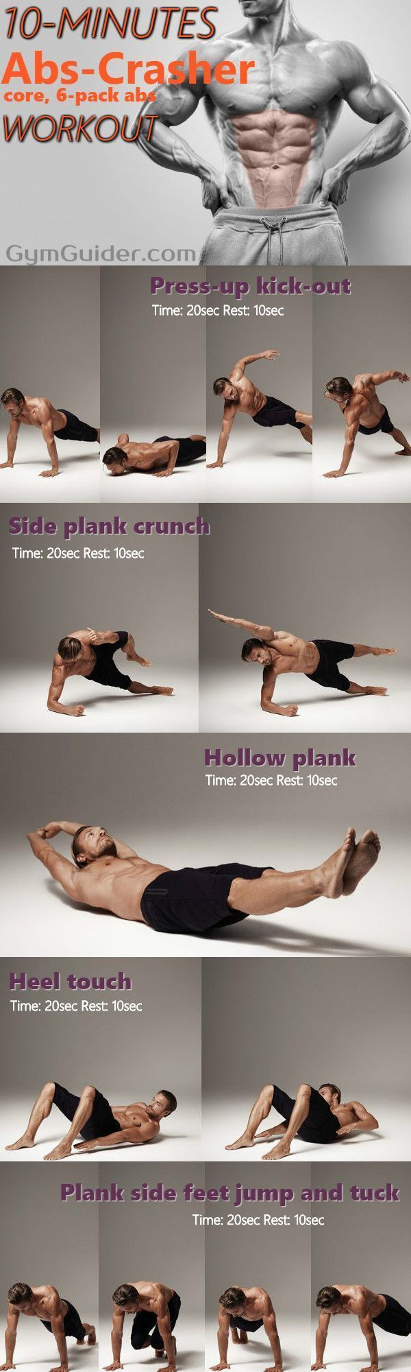 10 Minute Home Bodyweight Abs Crusher Workout - GymGuider.com        10 Minute Home Bodyweight Abs C...