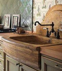 Beau Stone Farmhouse Sink | RusticSinks | Travertine Sinks. Love This!!!