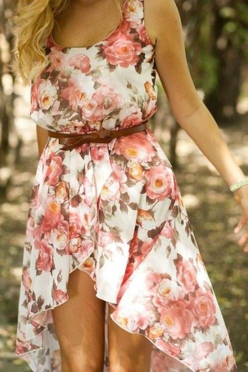 Floral dress with a brown belt. I absolutely love this, it's cute and fashionable.