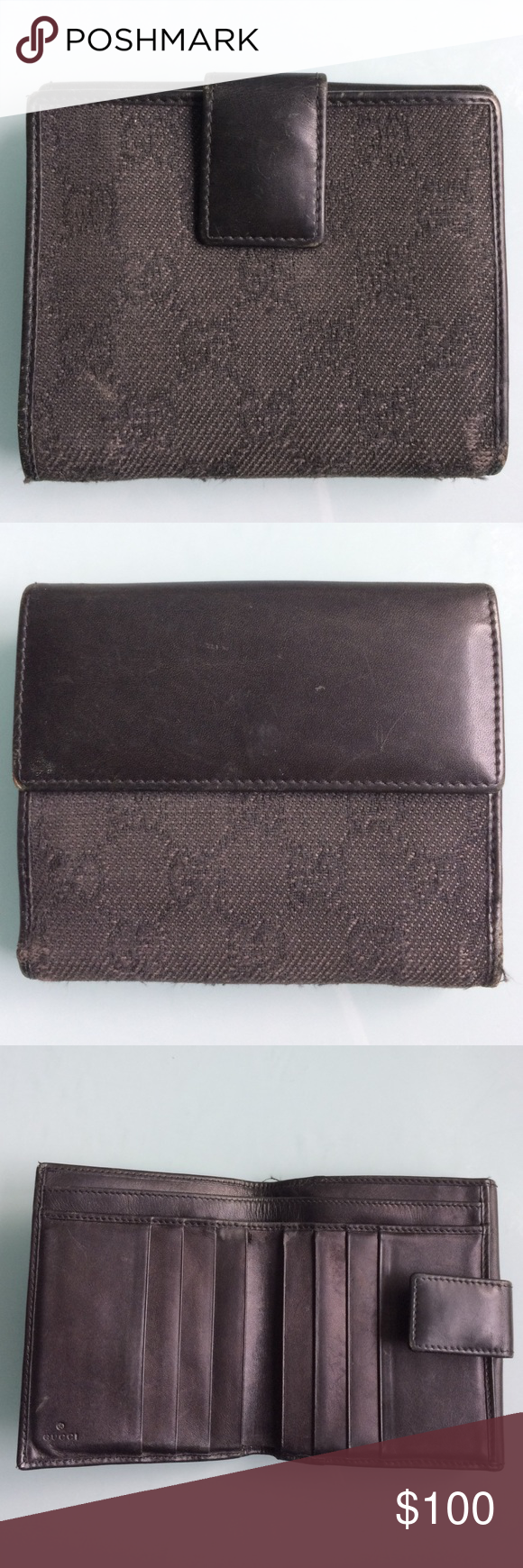 2a7e829d0df AUTHENTIC VINTAGE GUCCI WALLET AUTHENTIC GUCCI WALLET- Gucci pattern fabric  exterior with leather flap and leather interior. no box