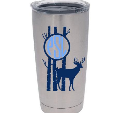 Monogram Deer Vinyl Decal For Yeti CupTumbler Get Yourself Ready - Vinyl cup designs