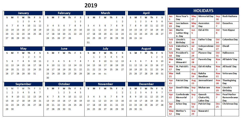 Us holidays dates 2019