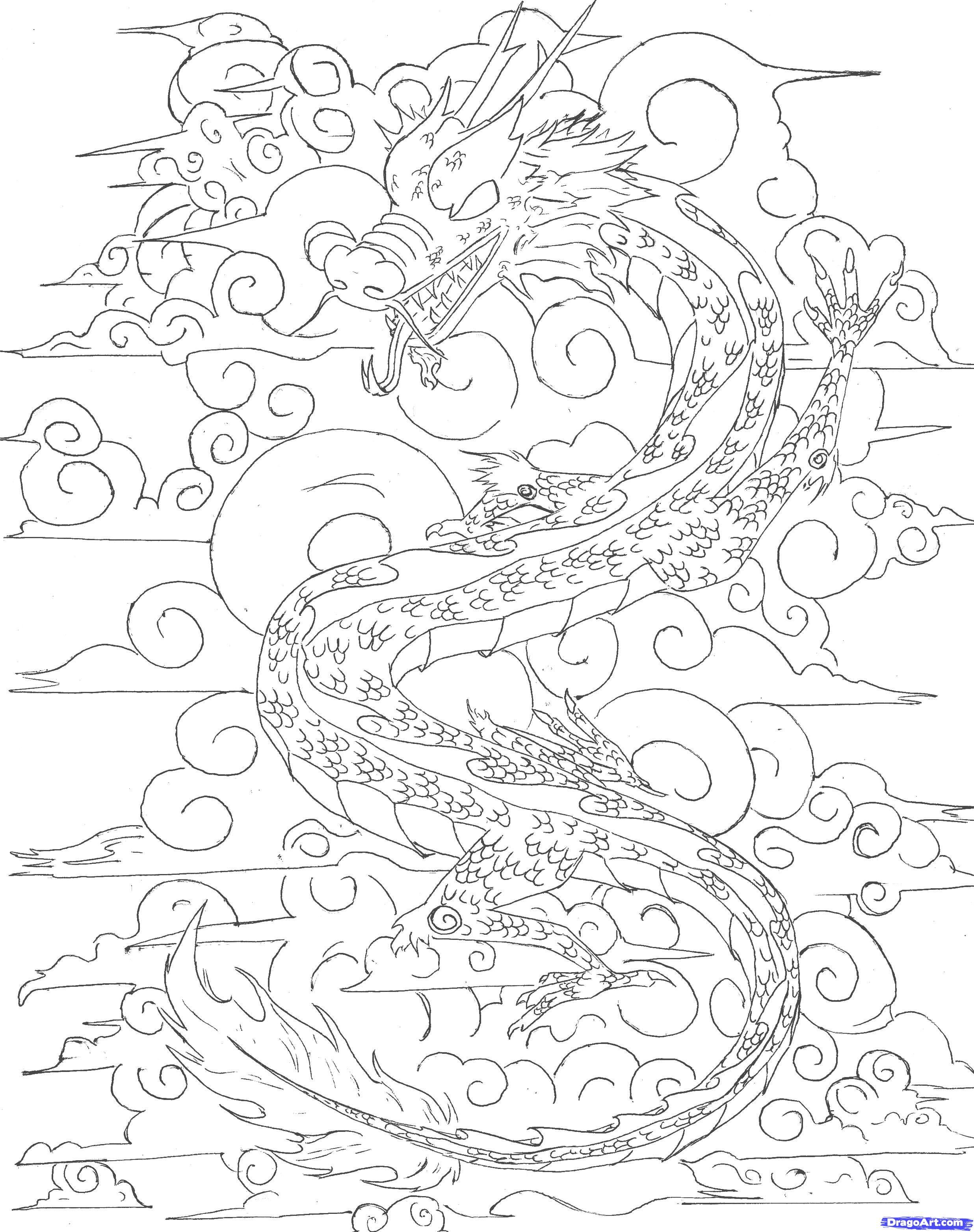 Japanese Dragon Outline   how to draw a chinese sky dragon step 6 ...