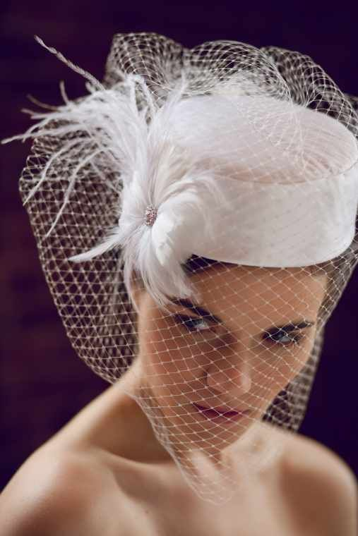 White Bridal Veils Hats With Birdcage Veil And Fascinator Flower By Ellen Marie Design