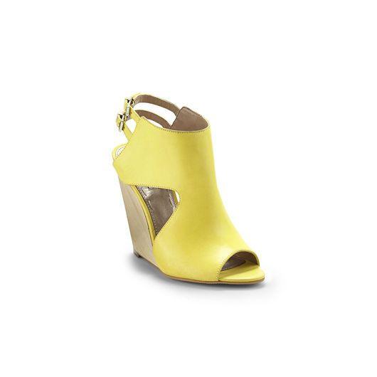 "Yellow ""Lyani"" wedge by Rachel Roy, $120"