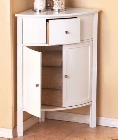 Captivating Wooden Corner Storage Cabinet With Drawer White NEW