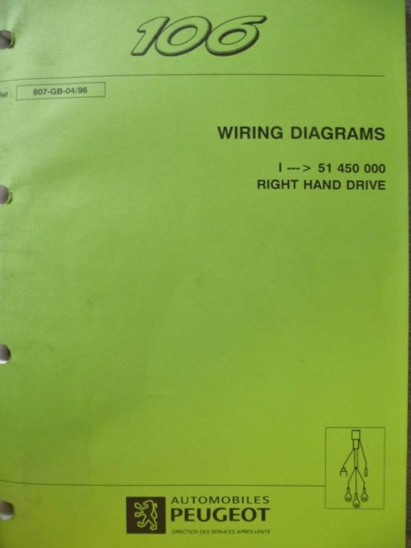 Peugeot 106 Wiring Diagram: Peugeot 106 Wiring Diagram Manual 807-GB-04/96 Listing in the ,Design