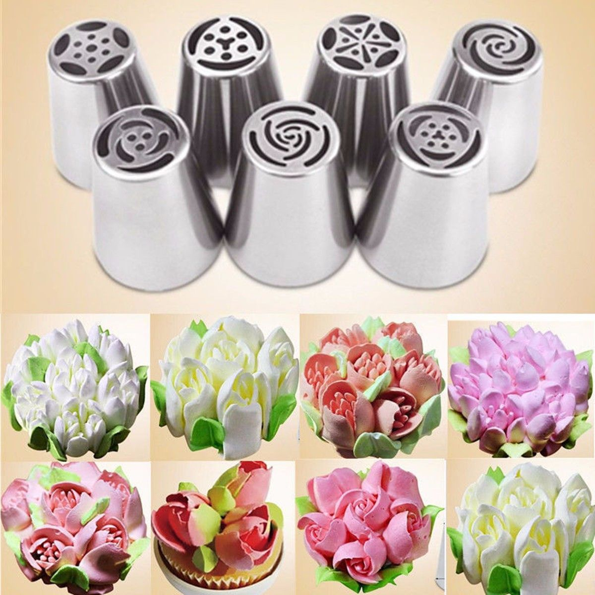 7pcs Russian Icing Piping Nozzles Tips Cake Decorating Sugarcraft Pastry Tool Walmart Creative Cake Decorating Cake Decorating Supplies Easy Cake Decorating