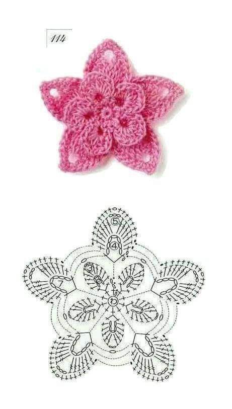 Flor dos capas | Crochet flowers | Pinterest | Capilla, Flor y Ganchillo