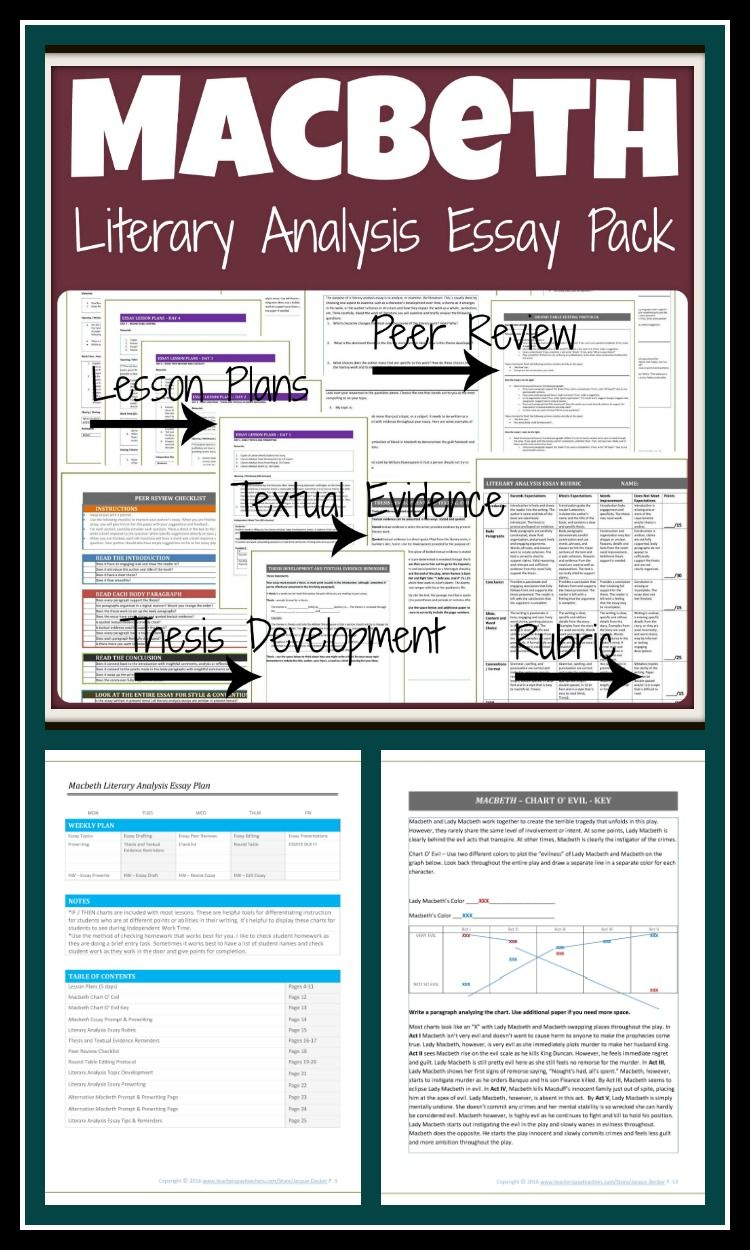 Example Of English Essay Macbeth Essay Pack With Lessons And Instructions On Embedding Quotes This  Is Full Of Writing Activities For Macbeth Lead Your Students Through A  Literary  Easy Persuasive Essay Topics For High School also Argumentative Essay Proposal Macbeth Essay Unit  Love And Let Lit  Education Teaching Student The Yellow Wallpaper Essay