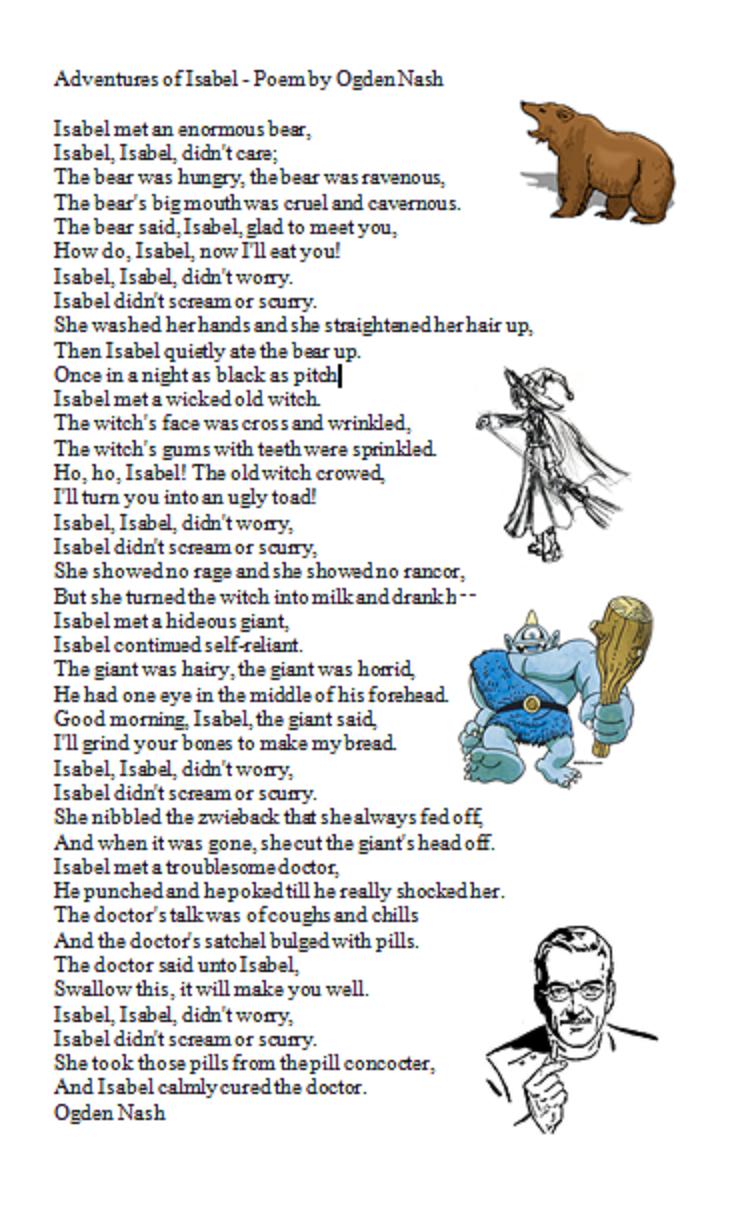 Adventures Of Isabel By Ogden Nash Poems Kids Poems