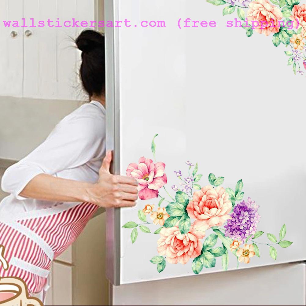 Flower Butterfly Flying Dandelion Wall Stickers Creative Refrigerator Sticker