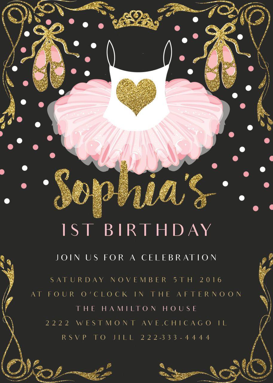 Pink ballerina birthday invitation glitter and gold birthday pink ballerina birthday invitation glitter and gold birthday invitation pink nerd printables filmwisefo