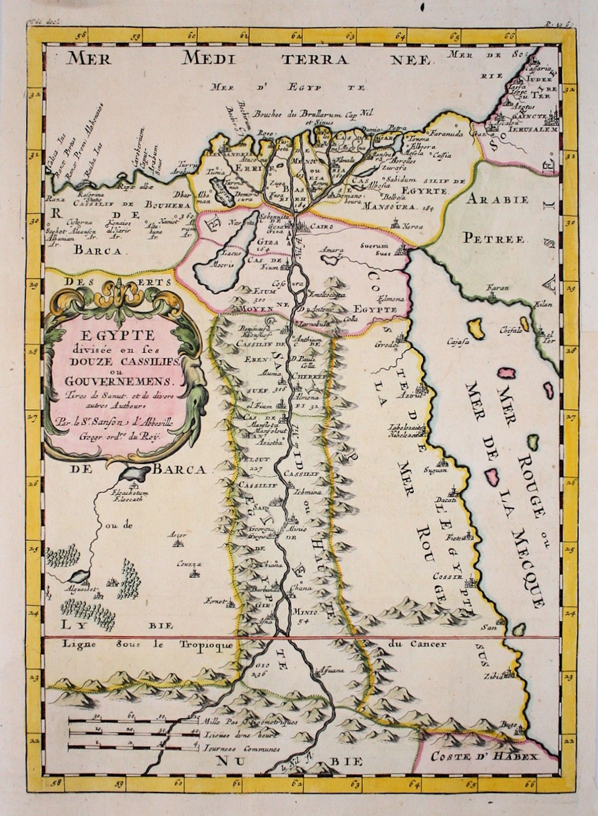 Egypt Nile Valley Africa antique map by Sanson/Abberville 1662