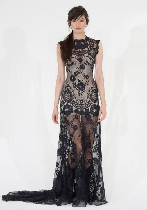 Romantique black lace wedding dresses